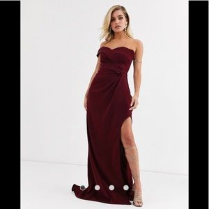 Yaura bardot maxi dress w thigh split in wine